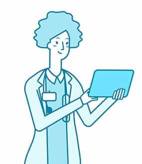 Icon einer Ärztin mit einem iPad in den Händen