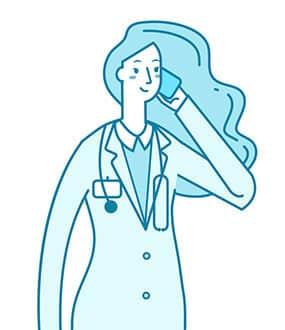 Icon einer Ärztin mit Pferdeschwanz die sich ein Smartphone ans linken Ohr hält