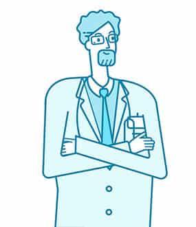 Icon von einem Arzt mit Bart und verschränkten Armen