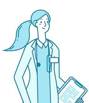 Icon einer Ärztin mit Pferdeschwanz und Klemmbrett in der linken Hand
