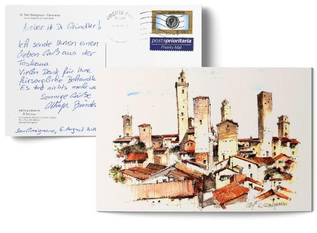 Testimonial über die erfolgreiche Behandlung durch Dr. Johannes Gründler - Postkarte mit einem Bild einer Stadt in der Toskana