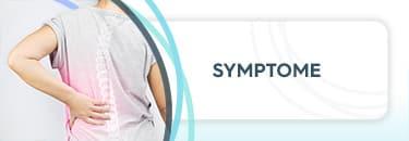 """Frau hält sich die Wirbelsäule, daneben die Aufschrift """"Symptome"""""""