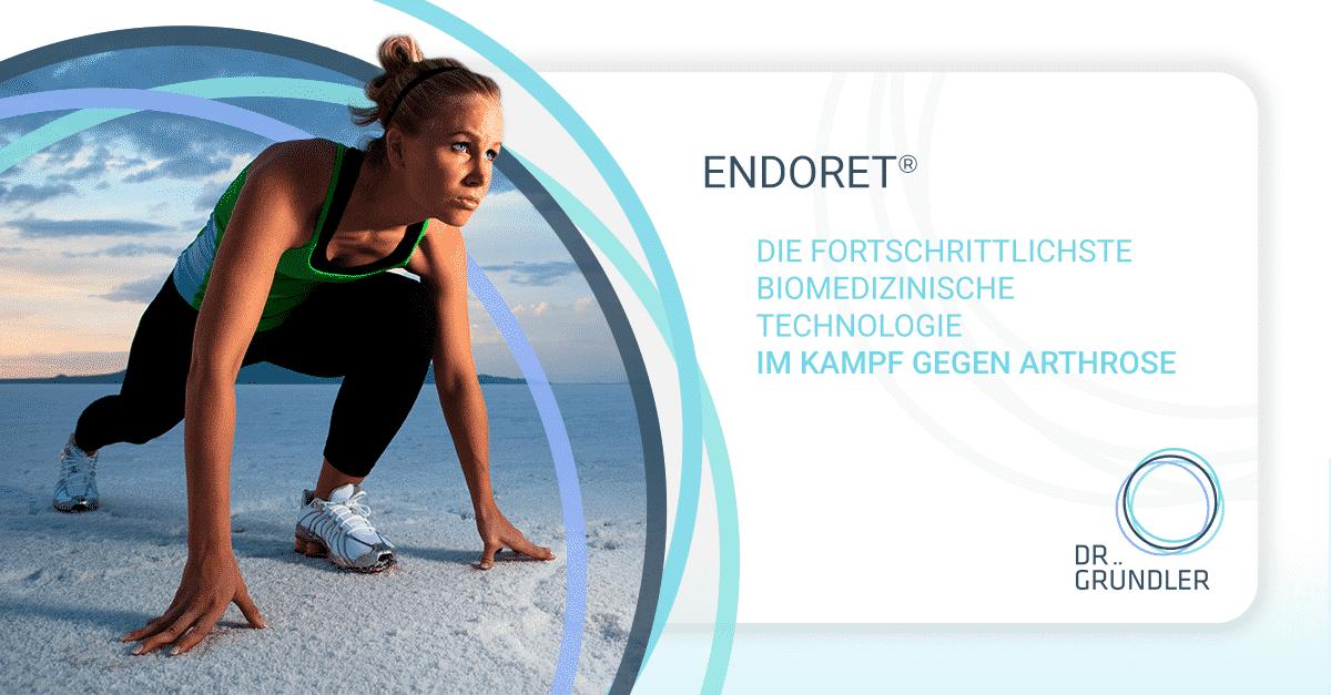 """Junge Sportlerin steht in Starthaltung auf einem Salzsee, daneben die Aufschrift """"Endoret - Die Fortschrittlichste Biomedizinische Technologie im Kampf gegen Arthrose"""""""