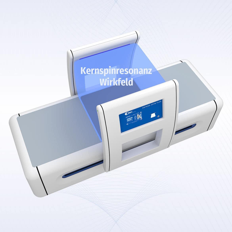 MBST Kernspinresonanztherapie - Arthro-Spin-Flex mit eingezeichnetem Kernspinresonanzwirkfeld