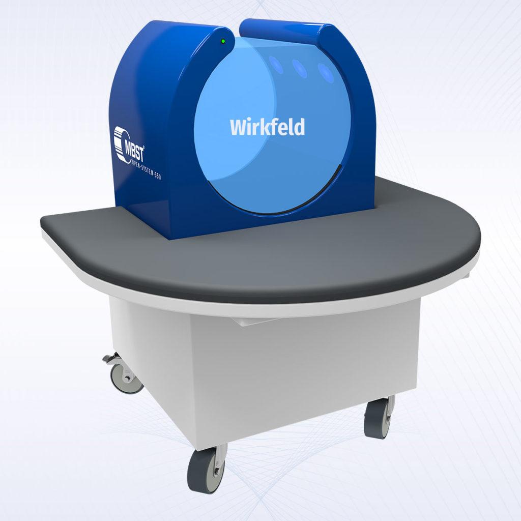 MBST Kernspinresonanztherapie - Open System 350 mit eingezeichnetem Wirkfeld