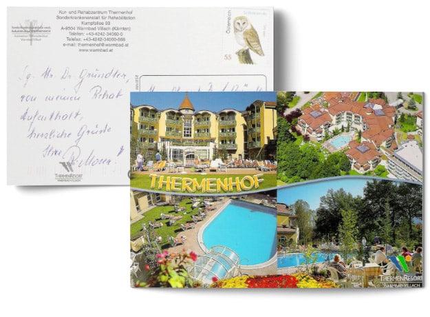 Testimonial über die erfolgreiche Behandlung durch Dr. Johannes Gründler - Postkarte mit einem Bild vom Thermenhof Hotel