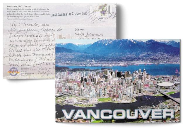Testimonial über die erfolgreiche Behandlung durch Dr. Johannes Gründler - Postkarte mit einem Bild von Vancouver