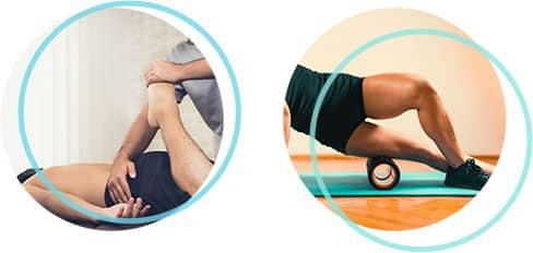 Bild eines Physiotherapeuten der den Fuß eines Mannes behandelt, daneben ein Bild von einem Sportler der seinen Oberschenkel über eine Faszien Rolle bewegt