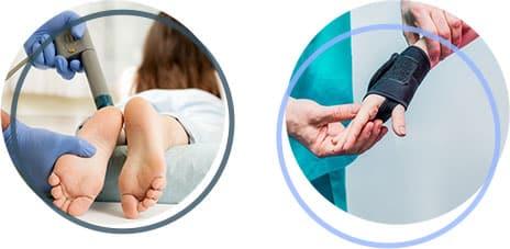 Stosswellentherapie und Bandagen