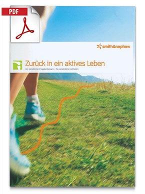 """Produktfolder von VISIONAIRE Smith Nephew Kniegelenk, Läufer läuft über eine Wiese in den Bergen, Bildbeschriftung """"Zurück in ein aktives Leben"""""""