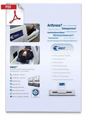 Produktfolder von Arthro Spin Flex MBST Kernspinresonanztherapiegerät - Bilder von Menschen im Behandlungsgerät, Informationen und Kontaktdaten