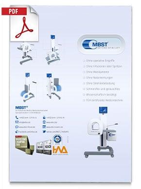 Produktfolder von Arthro Spin Lift MBST Kernspinresonanztherapiegerät - Bilder vom Behandlungsgerät, Informationen und Kontaktdaten