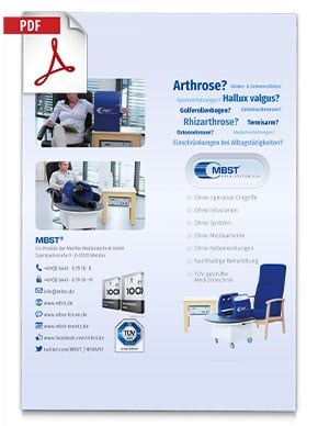 Produktfolder von Open System 350 MBST Kernspinresonanztherapiegerät - Bilder von Menschen im Behandlungsgerät, Informationen und Kontaktdaten