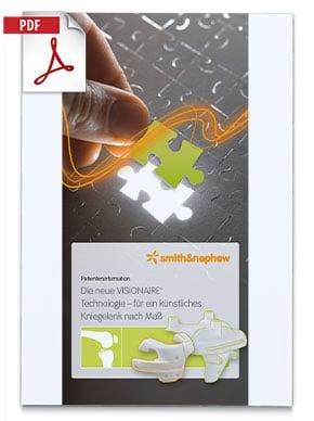Produktfolder von VISIONAIRE Smith Nephew Kniegelenk mit einer Hand die ein Puzzleteil einfügt, darunter ein Bild der Knieprothese