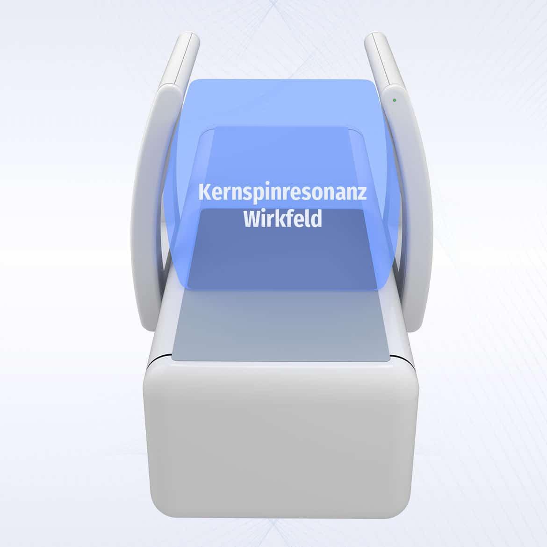 Kernspinresonanztherapiegerät Arthro Spin Flex MBST mit eingezeichnetem Wirkfeld
