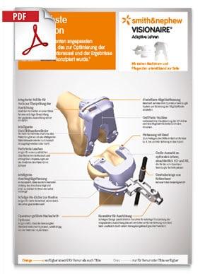 Produktfolder von VISIONAIRE Smith Nephew Kniegelenk mit detaillierter Erklärung und Schaubild der Knieprothese