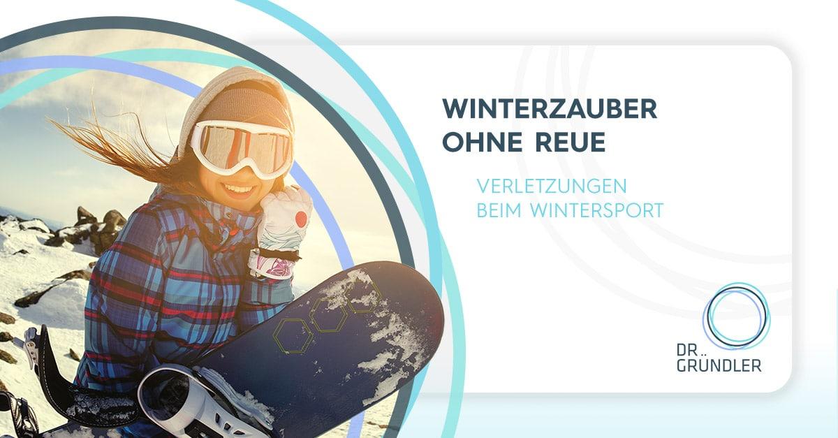Beitragsbild - Winterzauber ohne Reue - Verletzungen beim Wintersport - Links ein Bild einer Snowboarderin