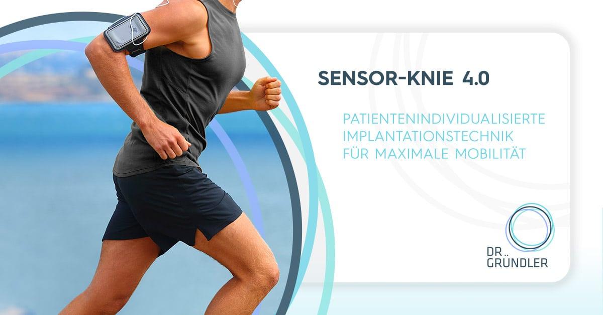 """Sensor Knie 4.0 - Sportler läuft mit Smartphone am Oberarm, rechts daneben """"Patientenindividualisierte Implantationstechnik für maximale Mobilität"""""""