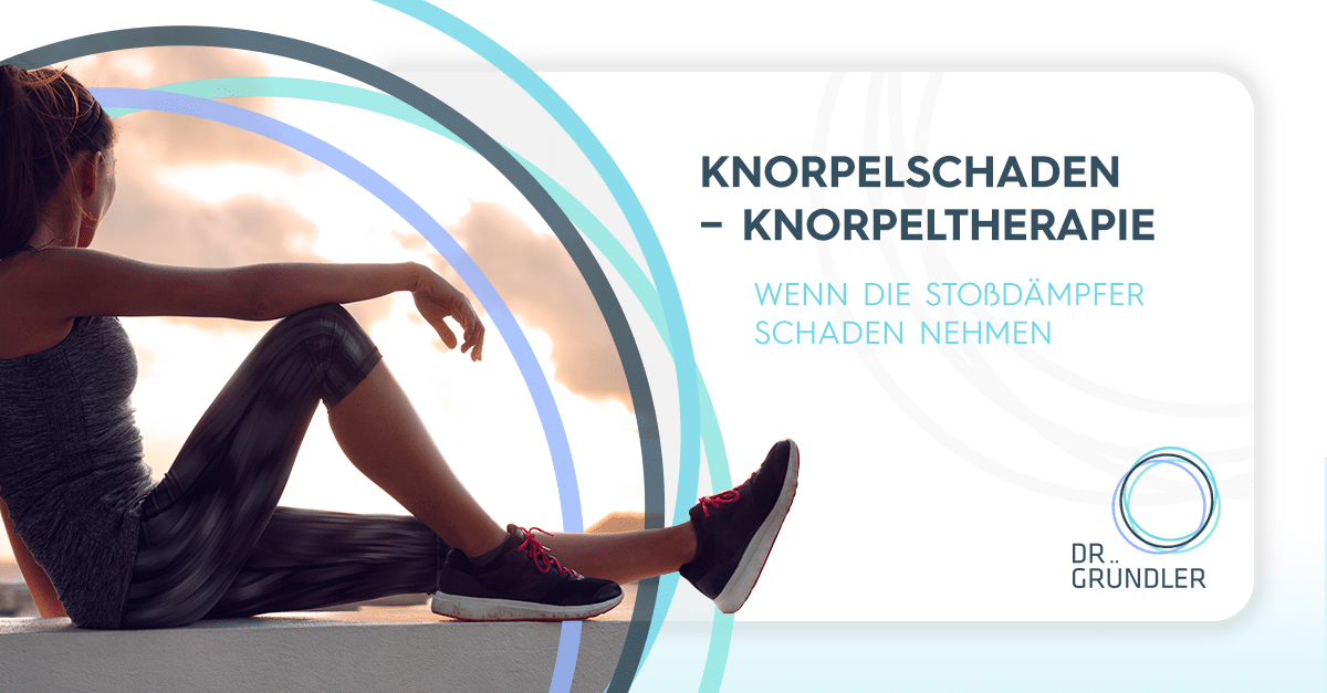 """Sportlerin sitzt auf einem Betonpoller, rechts daneben """"Knorpelschade - Knorpeltherapie - Wenn die Stoßdämpfer Schaden nehmen"""""""
