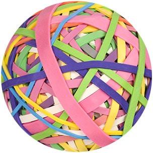 Sinnbild einer Kugel aus Gummibändern für elastischen Knorpel