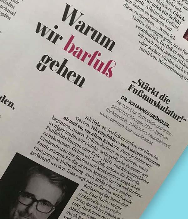 """Ausschnitt aus einem Zeitungsartikel """"Warum wir barfuß gehen"""" von Dr. Johannes Gründler"""