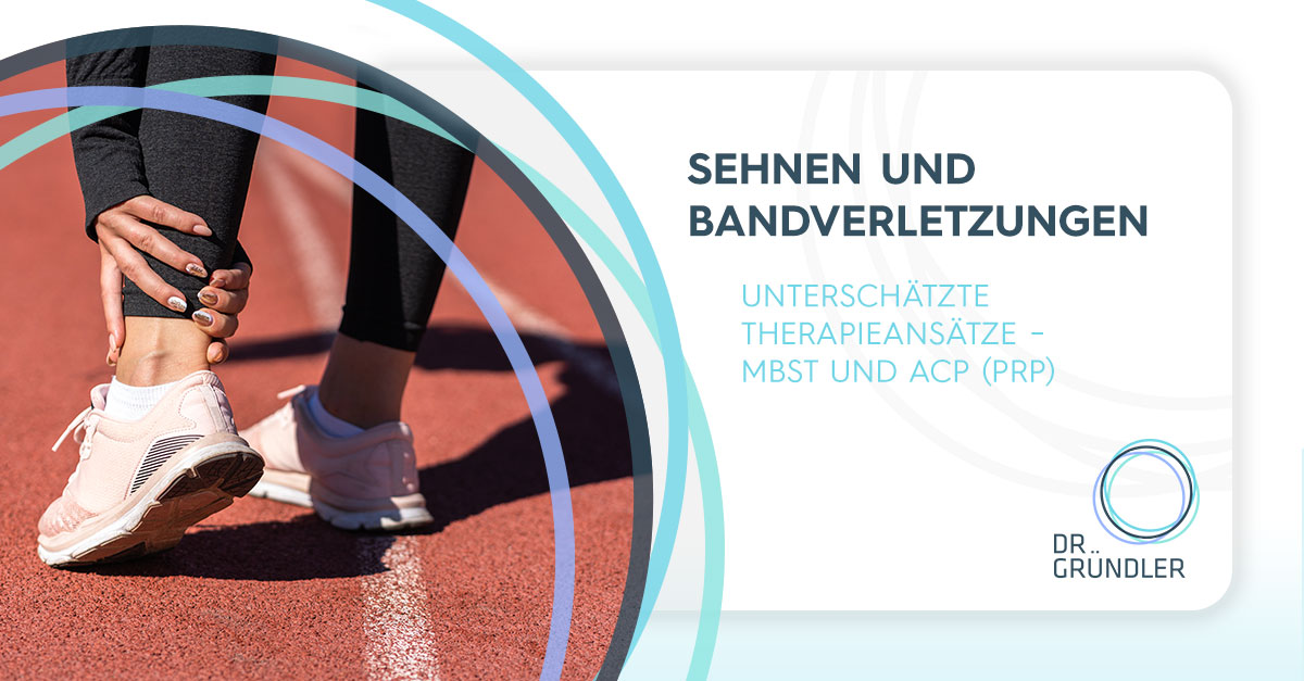 """Sportlering hält sich denk linken Fuß auf einer Rennbahn - """"Sehnen und Bandverletzungen - Unterschätzte Therapieansätze - MBST und ACP (PRP)"""""""